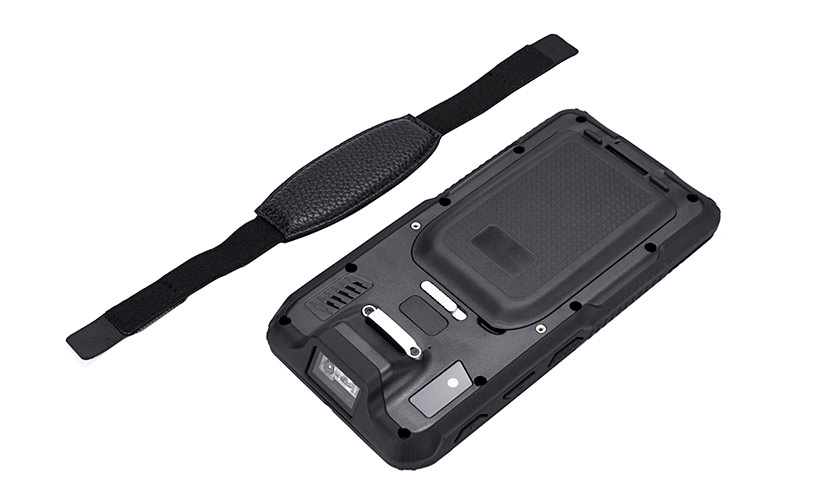 SCORPION 6: Rear view of the rugged handheld with hand strap